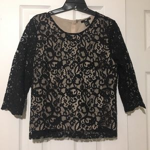 H&M Black Lace Blouse 3/4 Sleeves Button-Up Back
